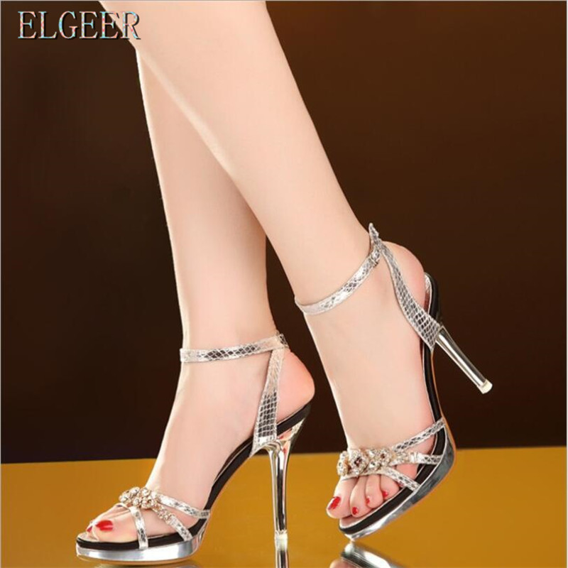 Rhinestone High Heel Sandals Female Fine With 2018 Summer New Sexy Open Toe High Heels Banquet Shoes