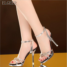Rhinestone high heel sandals female fine with 2018 summer new sexy open toe high heels banquet shoes the pearl is high with the female sandals 2017 new fashion fine with banquet sexy diamond open toed wedding shoes 34 40 yards