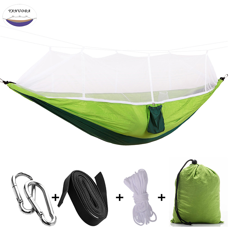 Hot Handy Portable Hammock Double/Single Folded Person White Net Mosquito Hook Hanging Bed For Camping Travel Kits Outdoor