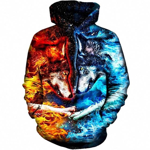 225efd40d777 Cloudstyle 3D Animal Sweatshirts Fire Ice Wolf Printed Hoodies Men Women  Pullovers Space Hipster Streetwear Male Outwear Hooded
