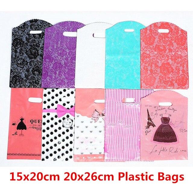 10 pcs 15x20 cm 20x26 centímetros De Armazenamento Saco Do Presente Roupas De Impressão De Plástico Sacos De Plástico Com Alças pacote de Casamento Saco de Compras de supermercado