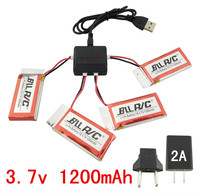 BLLRC four axis aircraft parts SYMA X5C X5SC X5SW remote control helicopter 5PCS 3.7V 1200mah battery and 4 in 1 charger