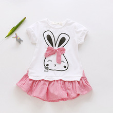 цена на Girls Dress 2019 New Summer Princess Dress Cartoon Rabbit Girl Clothes Kids Dresses for Girls 3 4 5 6 7 8 Years Baby Girl Dress