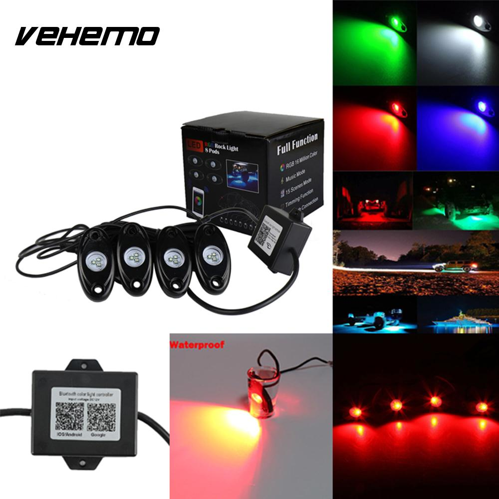 Vehemo 4Pcs Lamp Rock Light Truck Car Light Super Bright LED Light vehemo vehemo 1pair 10w for bmw e39 high power led bulb beads angel eyes car light lamp headlight bright