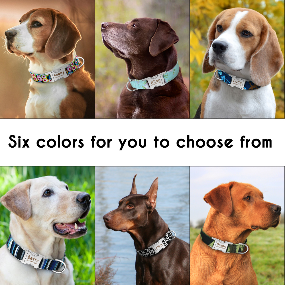 Dog Collar Personalized Nylon Pet Dog Tag Collar Custom Puppy Cat Nameplate ID Collars Adjustable For Medium Large Dogs Engraved 5