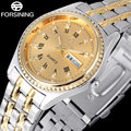 2017 новая мода FORSINING марка золотые часы женщины мода дизайн бизнес кварцевые часы римские цифры Горный Хрусталь вахты A901