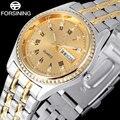 2017 nova moda marca forsining relógios de ouro das mulheres design de moda negócios relógio de quartzo algarismos romanos relógio de strass a901