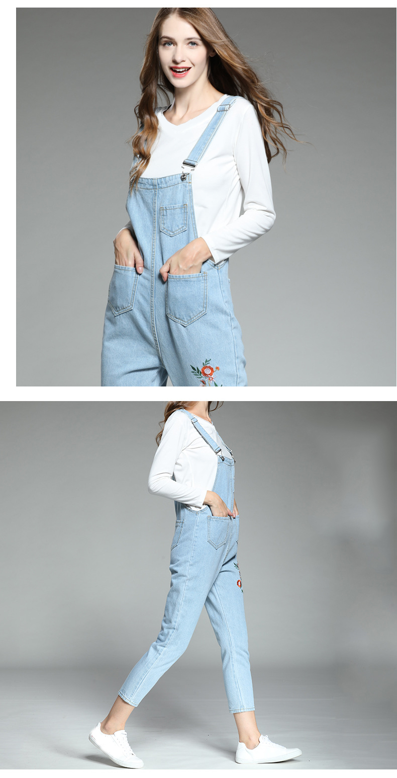 Large size women's 2018 autumn new fat mm Korean version of the embroidered piece of his pants ageing fat sister thin strappy pants (8)
