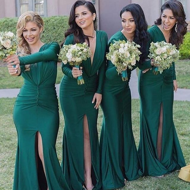2a2895304 Elegante Vestido de Dama de honor Verde Oscuro Sirena Atractivo Rajó los  vestidos de Dama De ...