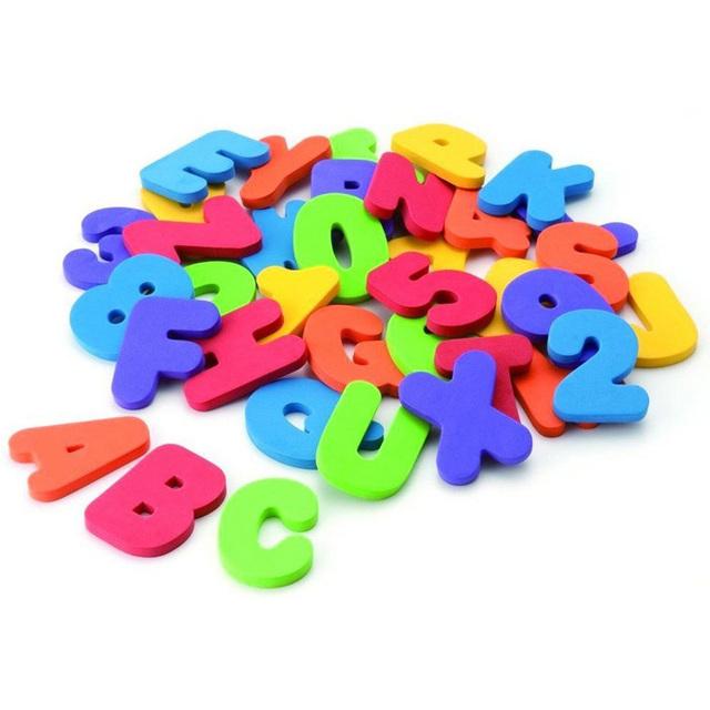 3 Nuevo Bebé de Juguete de Baño 36 unids Letras Números de Baño Letras y Números Espuma Suave Clásico Del Bebé Temprano Educativo herramienta