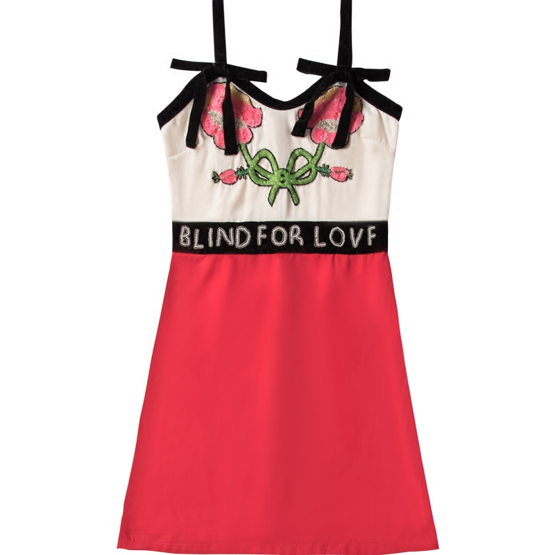 Newest Runway Women's Dresses Luxury Beading Letter Sequined Sexy Strap Mini Dress 2017 Summer Designer Feminine Dress Patchwork