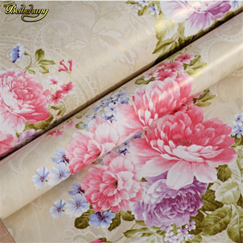 beibehang American pastoral flower wallpaper bedroom wedding room wallpaper living room TV backdrop 3D solid non - woven paper american country leaf branch flower pastoral non woven wallpaper bedroom living room 3d stereoscopic background wallpaper mural