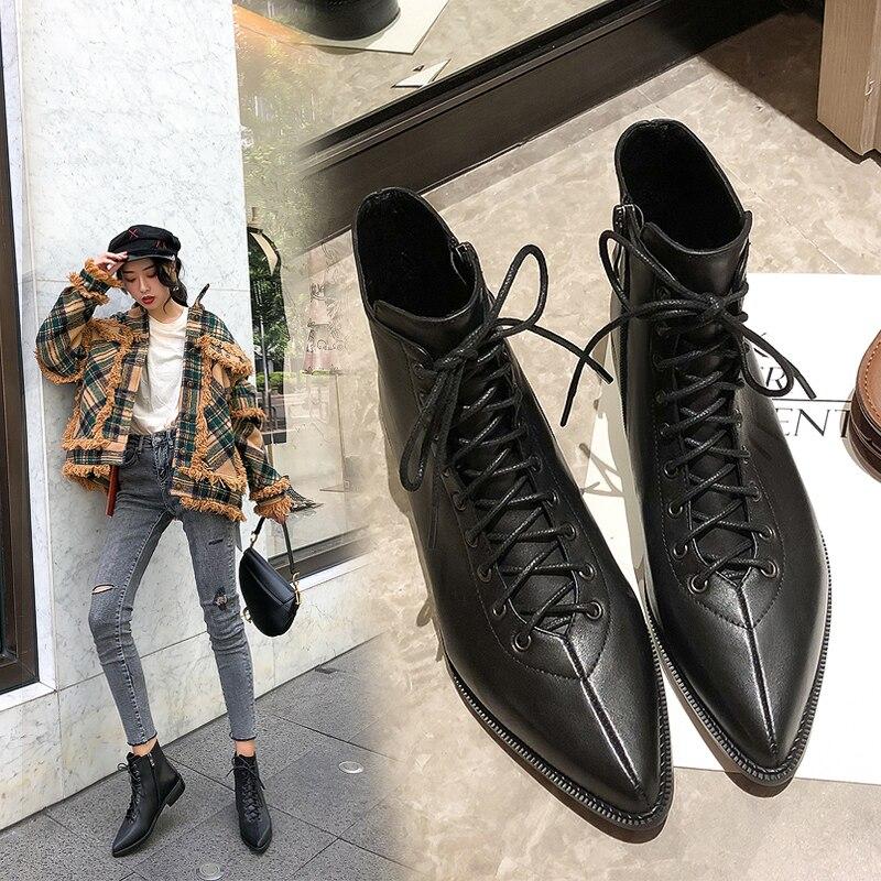 INS/Лидер продаж; женские ботильоны; женские ботинки из натуральной кожи длиной 22 26 см; мотоботы с острым носком; модная женская обувь|Полусапожки|   | АлиЭкспресс