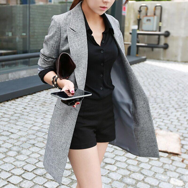 2019 Spring Autumn New Style Thin Long Women Blazer Gray