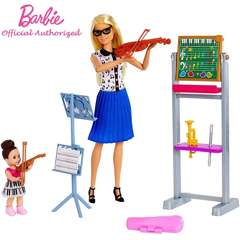 Музыкальная кукла учительницы и набор для игр в Стиле Барби, обучающая игрушка для детей Boneca