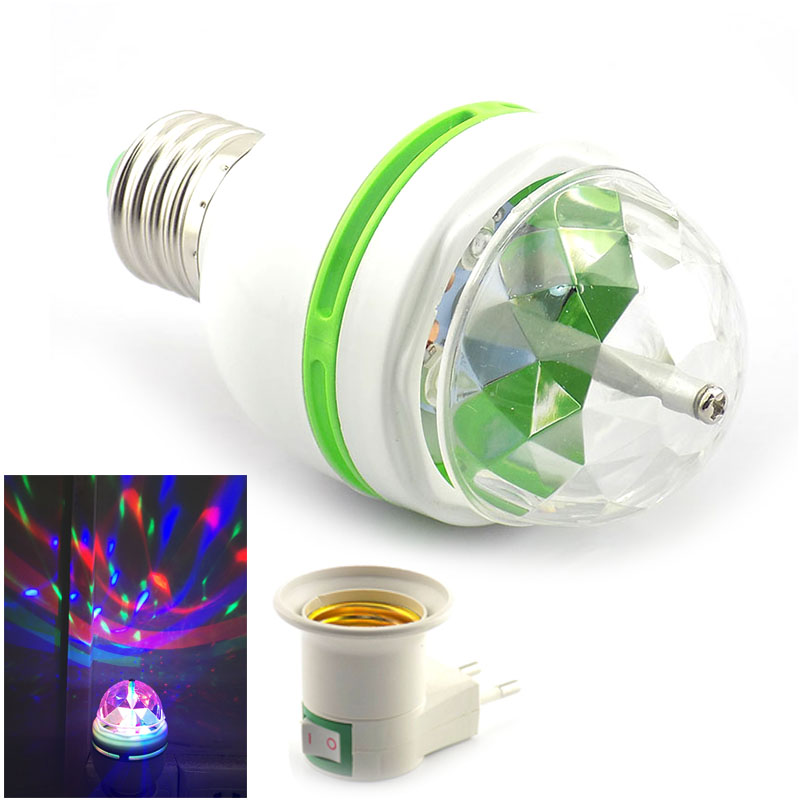 Festival 3W LED Mini Stage Disco DJ Light E27 Christmas New year party Lighting Auto Rotating RGB Bulb Lamp Magic Ball 110v-220v ...