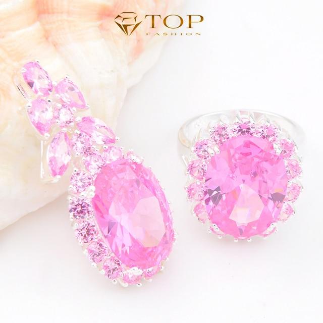 Топ ювелирные изделия роскошный розовый циркона наборов ювелирных изделий высокая - класс европа и соединенные штаты стиль горячие кольца и кулон комплект