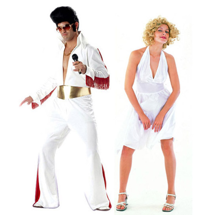 Cosplay Costumes Halloween Costume Party Clothing Singer White Clothing Adult Elvis Presley Clothing Marilyn Monro Cos Dress