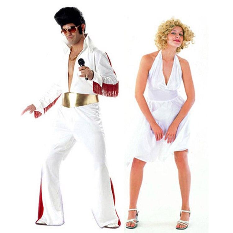 Costumi Cosplay Costume di Halloween Del Partito di Abbigliamento Cantante Bianco Abbigliamento Per Adulti Elvis Presley Abbigliamento Marilyn Monro Cos Vestito