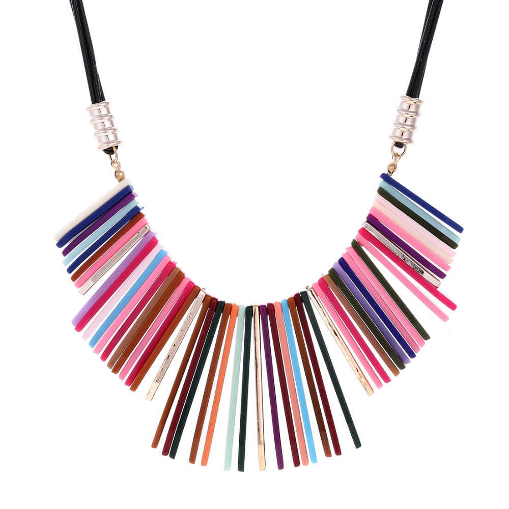 ZOSHI Women Necklace Statement Sweater Chain Necklaces & Pendants Colorful Beads Choker Necklace For Women Collier Femme Jewelry