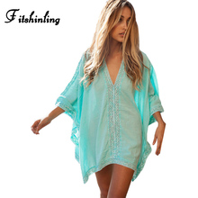 Oversize lace splice beach font b dress b font output swimwear batwing sleeve big size sexy