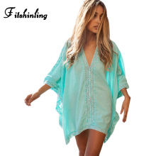 Oversize lace splice beach dress output swimwear batwing sleeve big size sexy hot summer dresses women pareos beachwear dresses
