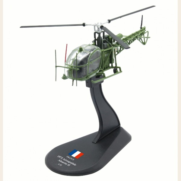 AMER 1/72 Scale Military Model Toys France Aerospatiale Alouette II Helicopter Diecast Metal Plane Model Toy For Collection/Gift