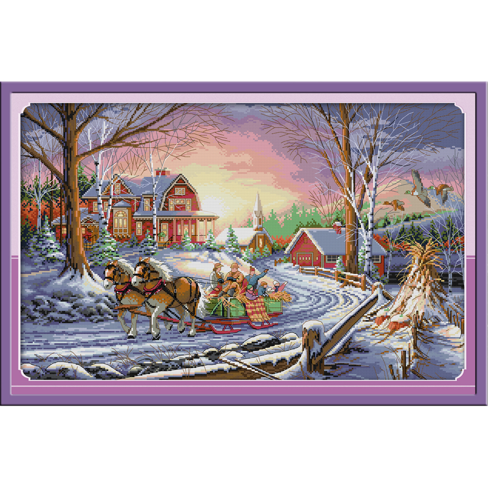 Joy Sunday Winter Travel  Chinese Cross Stitch Kits Ecological Cotton Clear Stamped Printed 14 11CT DIY Gift  Wedding Decoration