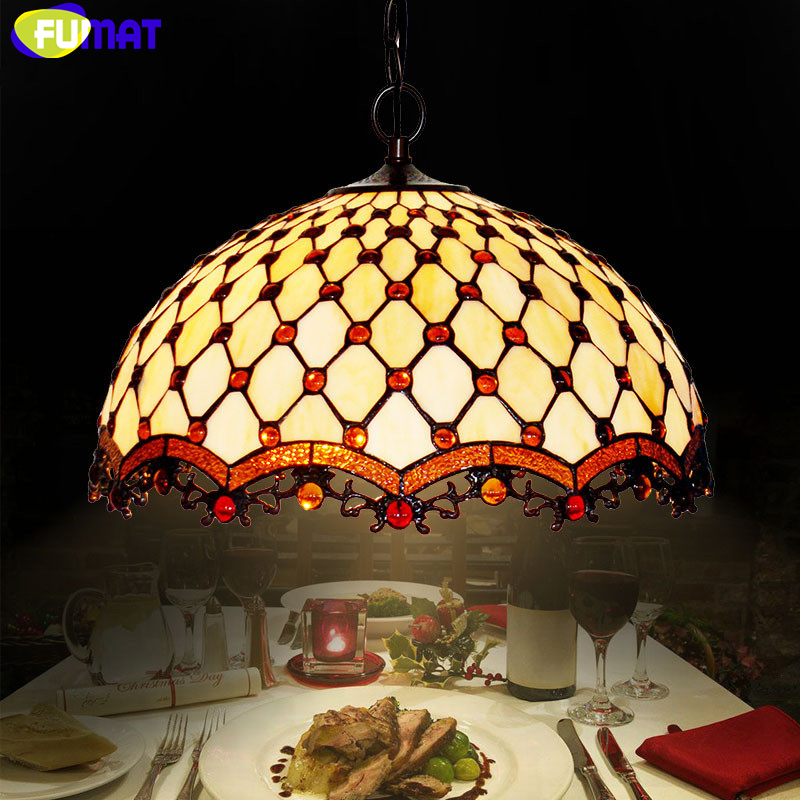 FUMAT Stained Glass Pendant Lamp Art Indoor Glass Beads Lights For Living Room Restaurant Light Fixtures Tiffany Pendant Lights купить