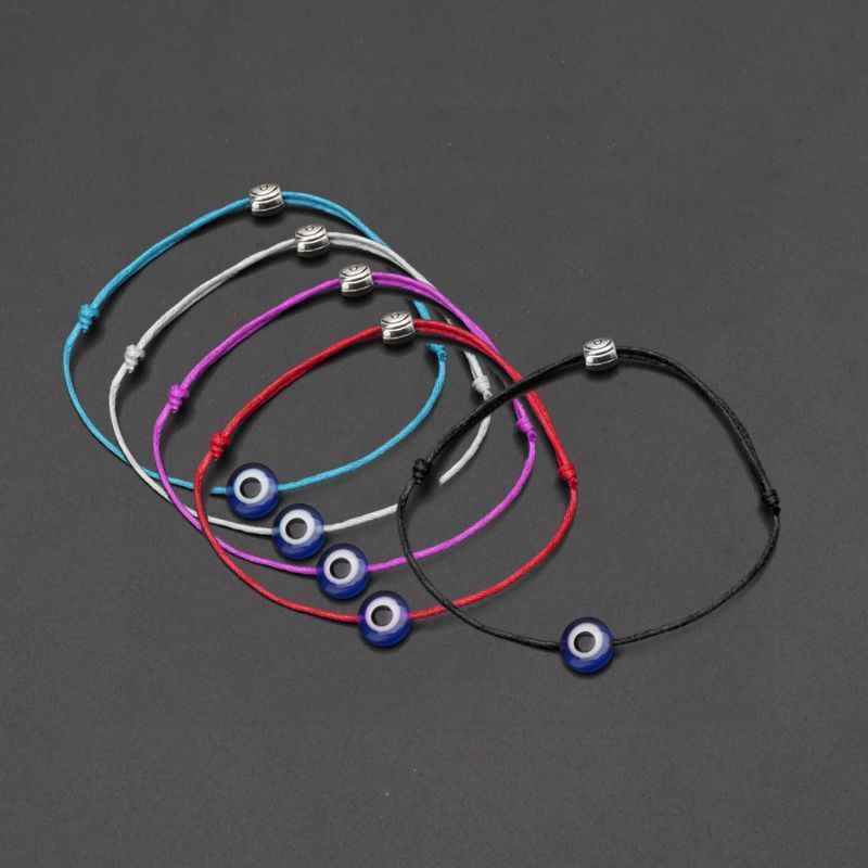 1PC azul de mal de ojo de cadena pulsera de Kabbalah amuleto judío protección suerte joyería Cadena de cuerda para las mujeres niñas