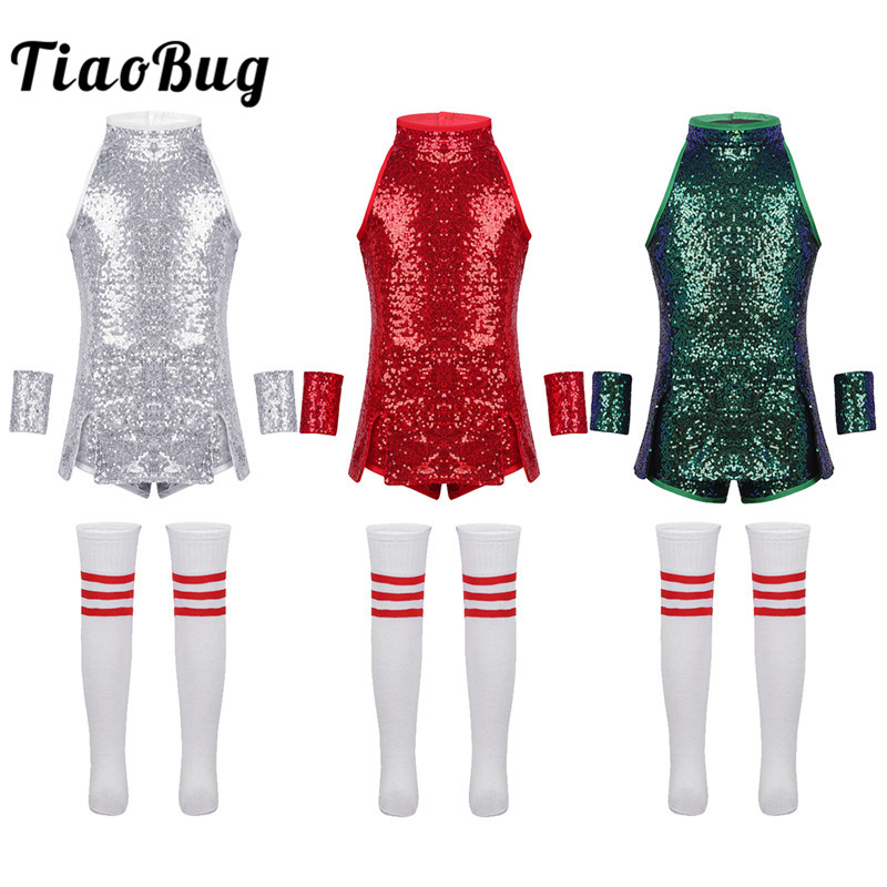 TiaoBug Child Girls Hip-hop Jazz Stage Dance Costume Street Dancing Shiny Sequins Tank Top With Shorts Socks Set Kid Dance Wear
