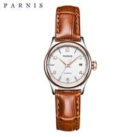 Parnis Watch Mechanical Women Bracelt 2018 Luxury Brand 27mm Sapphire Leather Gold Watch for Ladies Wrist Watch for Women PA2113