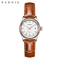 Parnis Watch Mechanical Women Bracelt 2018 Luxury Brand 27mm Sapphire Leather Gold Watch for Ladies Wrist Watch for Women PA2113