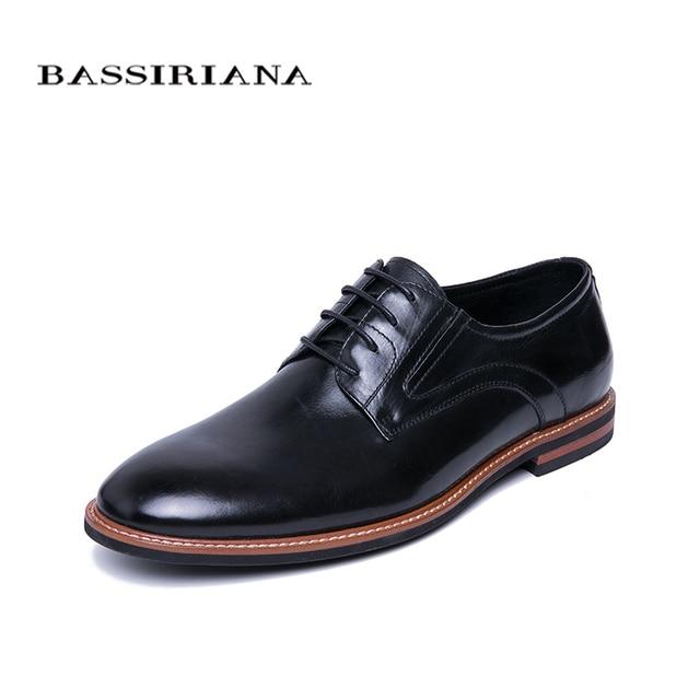 BASSIRIANA/Новинка 2019 г. повседневная обувь из натуральной кожи, Мужская официальная обувь на шнуровке, весна-осень, черный цвет, размеры 39-45, русский размер, ручная работа