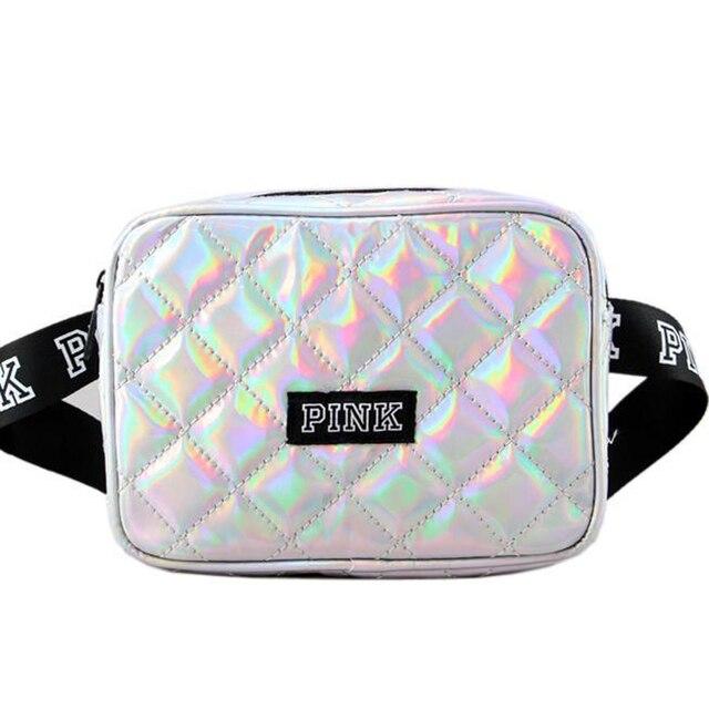 New PINK radium heuptas brilhante cintura bloco de fanny cinto bolsa da forma das mulheres bolsas sacos saco bolsos no peito pequeno quadrado P-13