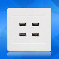 Hurtownie Wysokiej jakości przełącznik ścienny panel 4 USB kamery telefonu ładowarka port AC 250 V 220 V DC 5 V 3.1A darmo wysyłka