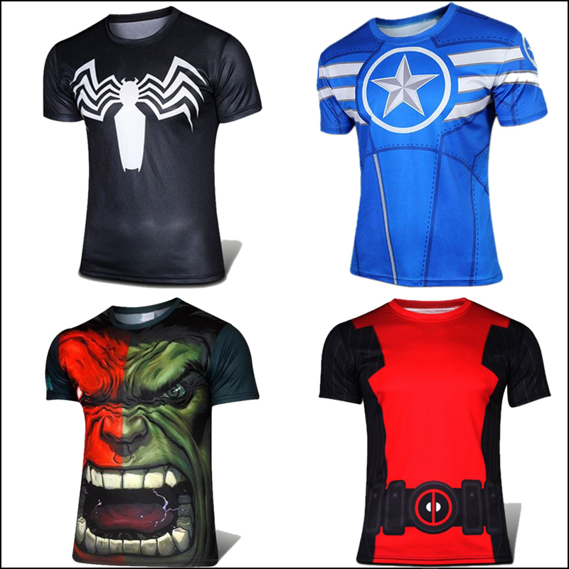 Marvel Super Heroes Men Tshirts Iron Man Spiderman Green Lantern The Hulk Captain America Loki Avenger Short Sleeve Homme S-4xl