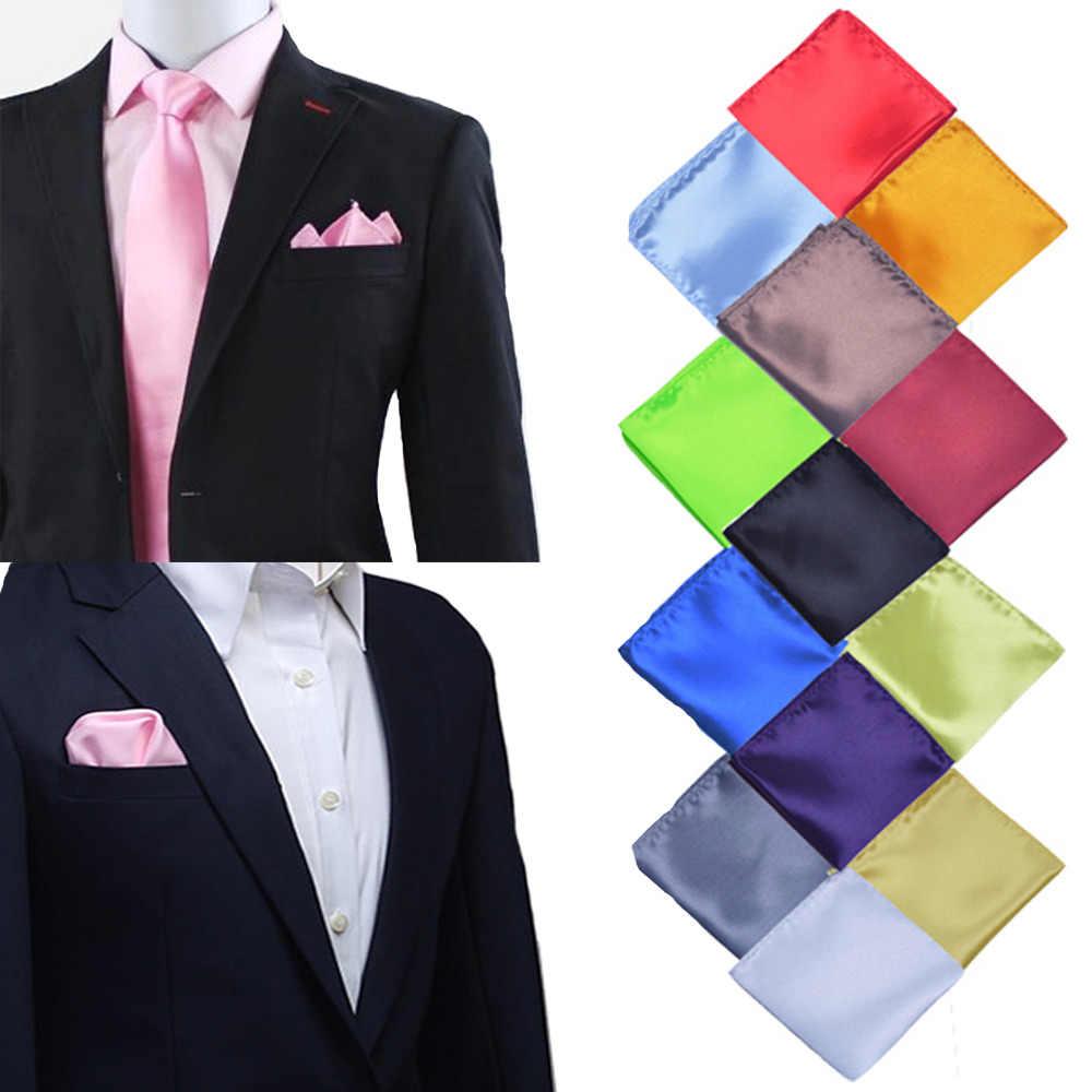 35 colori di Colore Solido Dell'annata Del Partito di Modo degli uomini di Alta Qualità Fazzoletto Groomsmen Uomo Pocket Piazza Hanky Wedding Affari