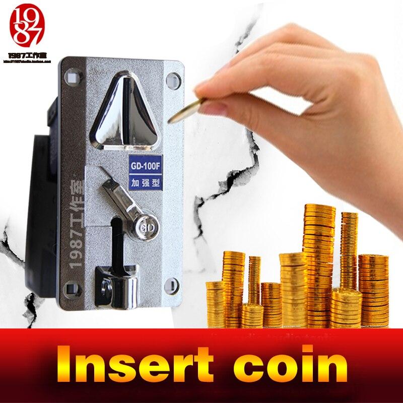 Quarto jogo de escape prop de jxkj1987 coin selector queda máquina de moedas na ranhura para escapar da câmara inserir moedas prop