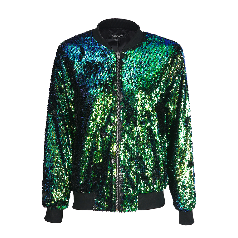 185e28ef Women Sequin Coat Green Bomber Jacket Long Sleeve Zipper Streetwear Jacket  Preppy Loose Casual Basic Coat