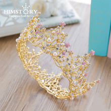 HIMSTORY Baroque Vintage Rhinestone Hair Accessories Pageant Wedding Round Big Tiara Full Circle Pink Pearl Bridal Prom Crown Fo цена 2017