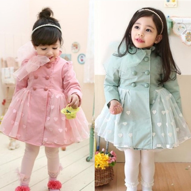 Korean Children In The Spring and Autumn Coat Girls Long Windbreaker Jacket Children Love Kids Clothing