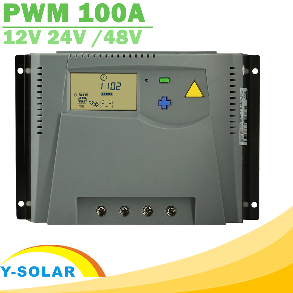 PWM 100A Solar Charger Controller 12V 24V Auto 48V LCD Display for Solar Panel Charge Regulator