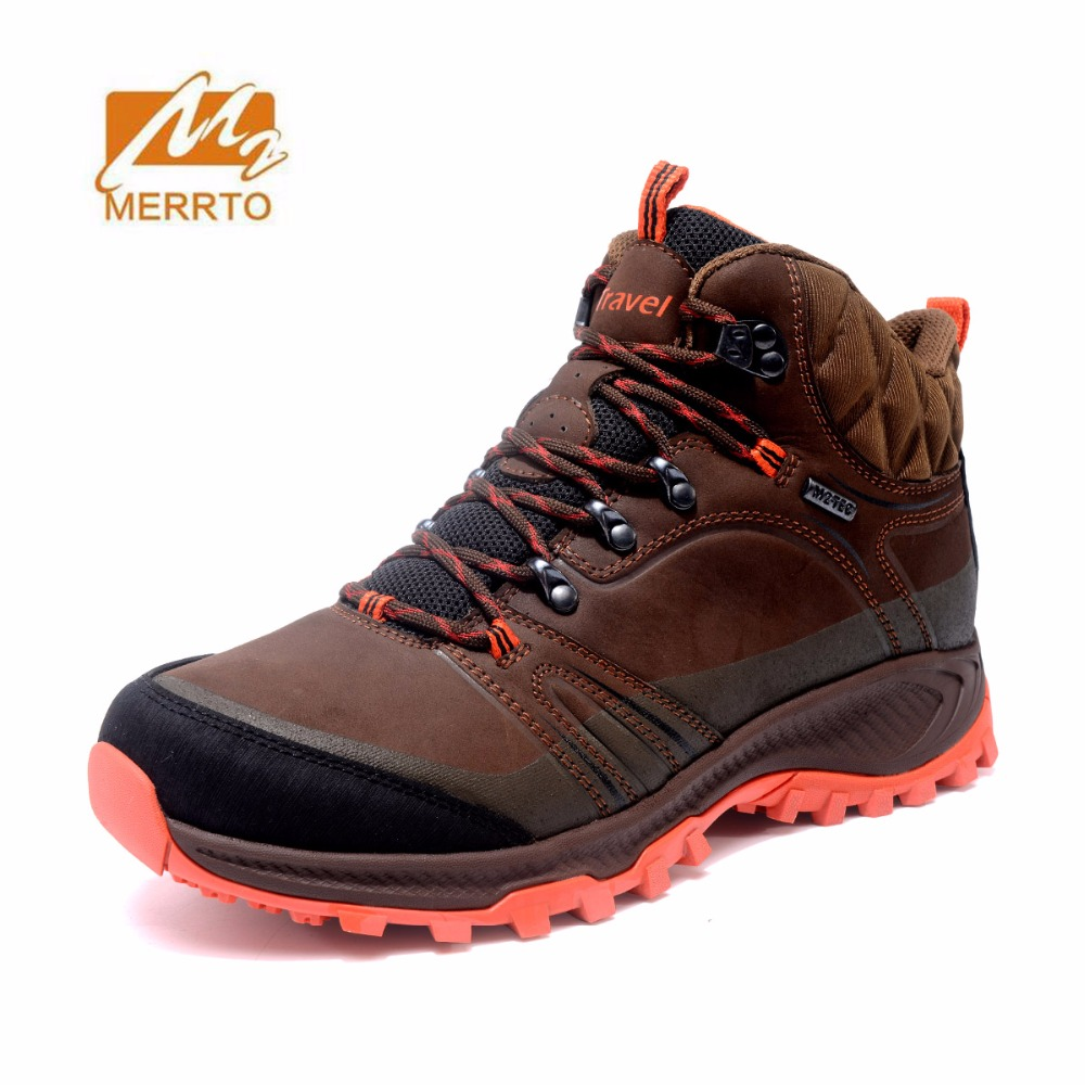 MERRTO Men's Outdoor Winter Leather waterproof Hiking Trekking Boots Tactics Shoes anti-skid Sneakers Climbing camping Shoes yin qi shi man winter outdoor shoes hiking camping trip high top hiking boots cow leather durable female plush warm outdoor boot