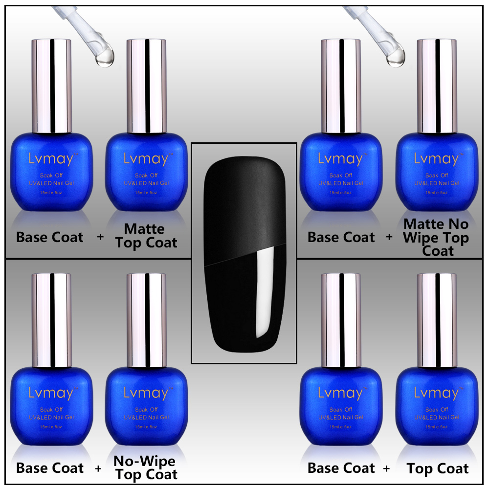 Lvmay Brand 15ml Color Gel Nail Polish Matte No Wipe Top Coat Base ...