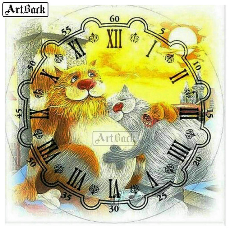 21 kinds of diamond painting wall clock lion full square diamond mosaic diy 3d round diamond embroidery clock room decoration