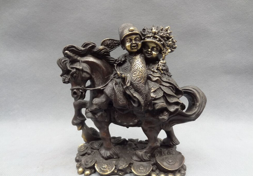 Song Voge Gem S5107 Chinese Bronze YuanBao Coin Child Chinese The Bride And Groom Ride Horse Statue