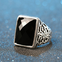 Vintage Men Rings Big Black Opals Precious Stones peridot Thailand Silver Ring For Women Jewelry anel masculino punk