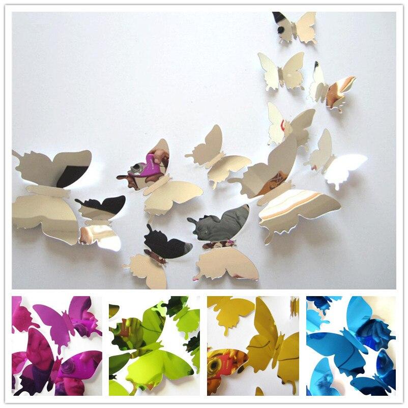 12PCS/lot 3D DIY Vinyl Mirror Butterflies Wall Sticker Kids Room Festival  Home Decor Art