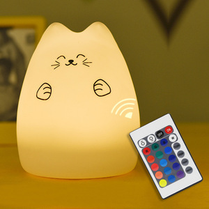 Image 3 - Silicone Cat LED Night Light Remote Control Touch Sensor Tap Colorful USB Rechargeable Bedroom Bedside Lamp for Children Baby